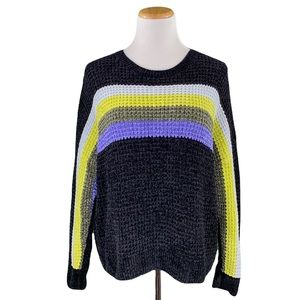 Express Black Striped Chenille Oversized Long Sleeve Crew Neck Knit Sweater